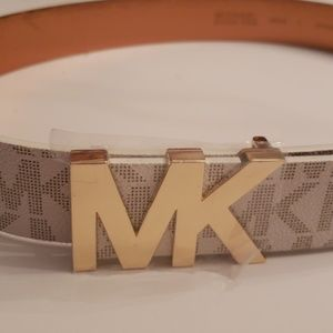 Michael Kors Nwt Logo White Buckle Belt